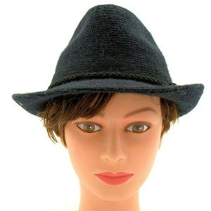 Four Buttons Fedora Knit Hat One Size Black NWT